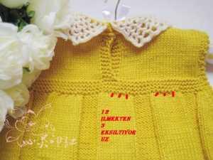 baklava desenli pileli örgü bebek elbisesi modeli yapılışı anlatımlı