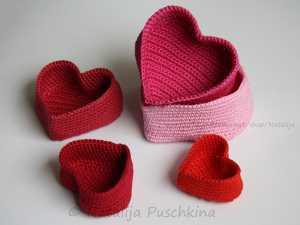 Hediyelik örgü kalp kutu modelleri