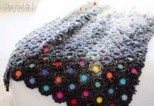 Çiçek motifli örgü battaniye modeli