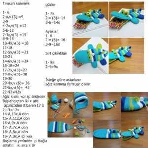 Amigurumi tekniği ile örülmüş örgü timsah kalemlik modeli yapılışı- anlatımlı