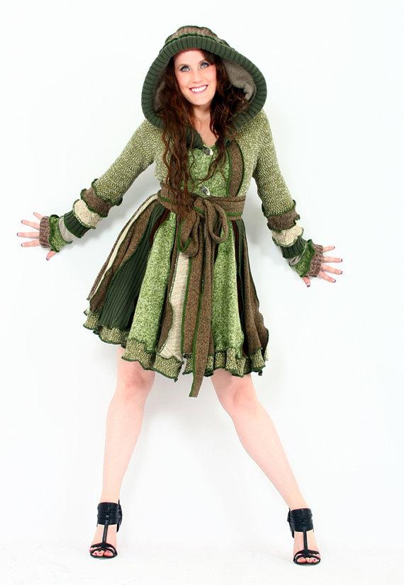 Kapşonlu örgü elbise modelleri