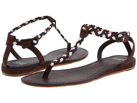 Lacoste Örgülü kahverengi sandalet modeli