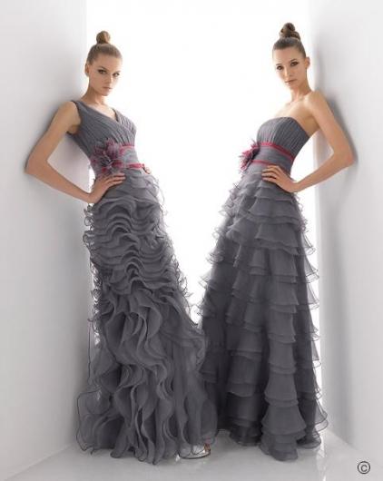 2011'in Gri Belden Kat Kat İnen Nişanlık - Abiye Modelleri