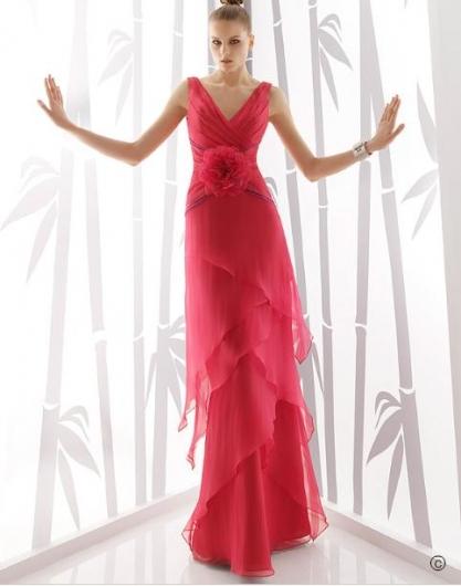 2011'in Kırmızı ve Narçiçeği Rengi Kollu Nişanlık - Abiye Modelleri