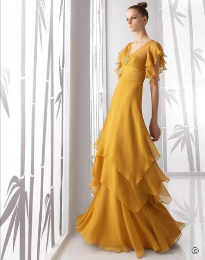 2011 Sarı Renk Kollu Nişanlık - Abiye Modelleri