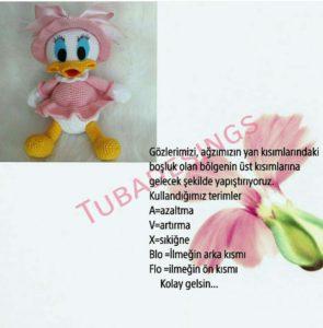 Amigurumi pembe elbiseli yavru kız ördek oyuncak modeli tarifi anlatımlı