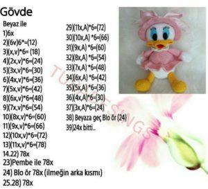 Amigurumi örgü oyuncak koca ağızlı ördek modelin gövdesinin tarifi anlatımlı