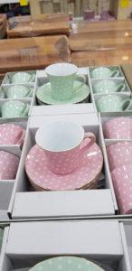 Pembe ve su yeşili puantiyeli kahve fincanı takımı fiyatı ve satışı @sorella_ile