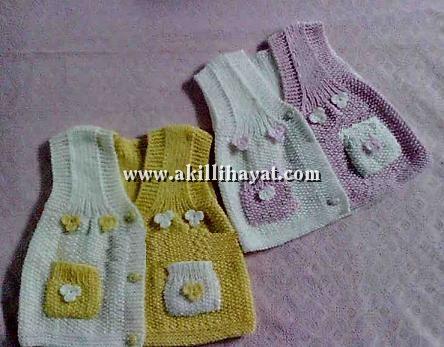 İki renkli dikişsiz bebek yelek modeli yapılışı (anlatımlı)