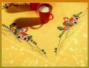 Manzara işlemeli baskılı goblen işi masa örtüsü ve mutfak takımı modelleri