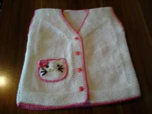 Hello Kitty ' li örgü bebek yeleği modeli yapılışı anlatımlı