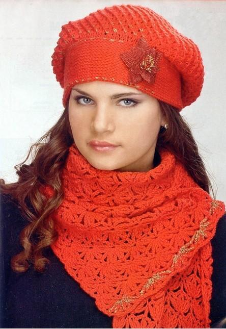 Kırmızı örgü bayan atkı ve bere modeli yapılışı (anlatımlı)