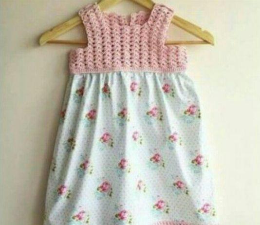 Kız çocukları için üstü örgü ile örülmüş altı kumaş vebek elbisesi modeli yapılışı anlatımlı
