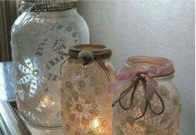 Dantel ile cam kavanoz süsleme mumluk yapımı dekorasyon fikirleri