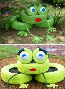 Bahçe dekorasyonu bahçe süsleme geri dönüşüm fikirleri araba lastiği ile obje yapılışları