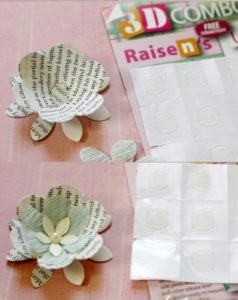 Kağıttan çiçek süslerle kağıt lamba süsleme anlatımlı