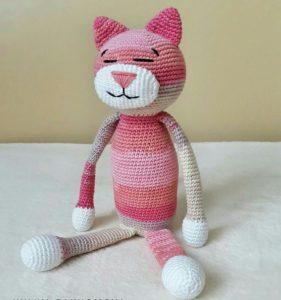 Bebekler için amigurumi uyku arkadaşı kedi modeli yapılışı anlatımlı