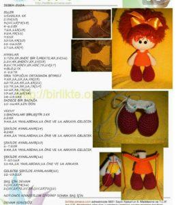 Amigurumi örgü oyuncak kızıl turuncu saçlı kız modeli yapılışı anlatımlı