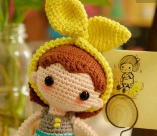 Amigurumi fiyonk bandanalı örgü oyuncak bebek modeli yapılışı anlatımlı
