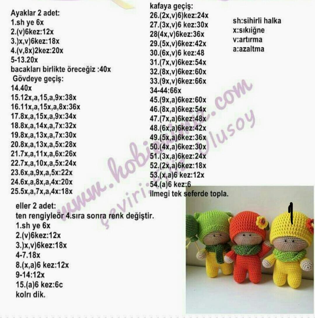 Amigurumi bebek ve resimli açıklamalı yapımı - 10marifet.org | 1090x1080