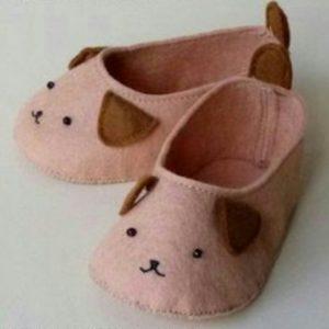 Keçe ile evde tavşanlı bebek ayakkabısı modelleri yapılışı anlatımlı