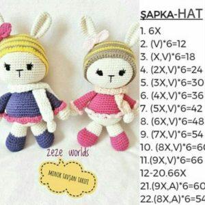 Amigurumi örgü oyuncak minik tavşan modelinin şapkasının yapılışı anlatımlı