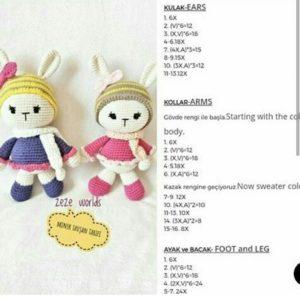 Amigurumi örgü oyuncak modelleri atkılı minik tavşan modeli tarifi anlatımlı