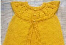 Robadan üç düğmeli sarı örgü bebek yeleği modeli yapılışı anlatımlı