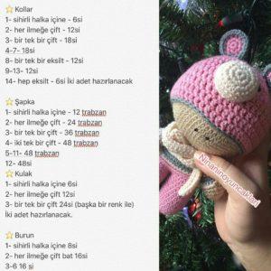 Amigurumi örgü oyuncak atkılı çocuk modeli tarifi anlatımlı