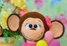 Amigurumi örgü oyuncak pembe elbiseli maymun modeli tarifi anlatımlı