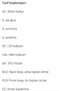 Amigurumide kullanılan kısaltmalar ve açıklamaları