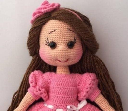 Kiloş elbiseli amigurumi örgü oyuncak kız bebeği modeli tarifi anlatımlı