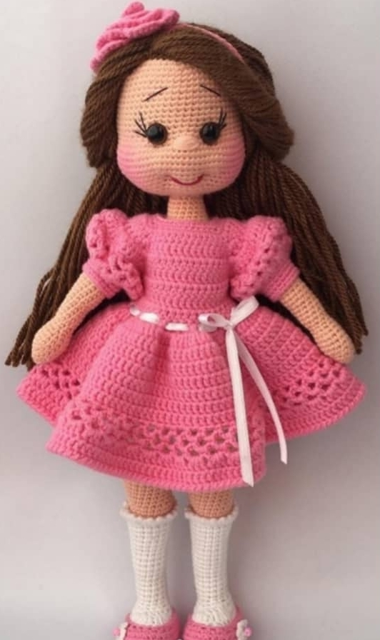 Crochet Bunny Doll in a Burgundy Dress Amigurumi Toy Lovely Cute ... | 896x532