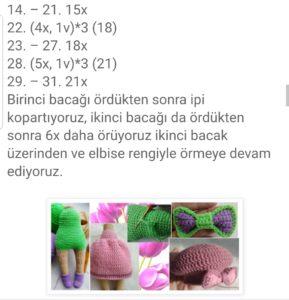 Amigurumi yabancı pattern tariflerde ki türkçe kısaltmaların anlamları