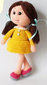 Amigurumi sarı elbiseli kız bebek tarifi açıklamalı