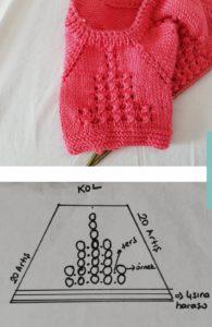 Bebek yeleği modellerinde bebe kol nasıl örülür