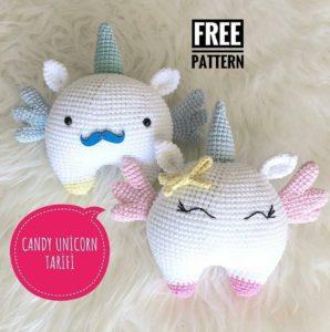 Amigurumi örgü oyuncak candy unicorn modeli tarifi anlatımlı