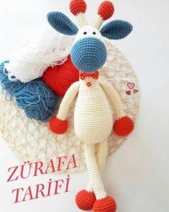 Amigurumi örgü oyuncak beyaz zürafa modelinin tarifi
