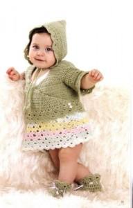 Tığ işi kapşonlu bebek ceketi , etek , şapka ve patik takımı modeli yapılışı