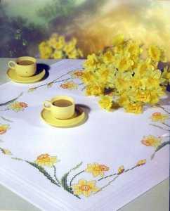 Çiçek işlemeli baskılı goblen işi masa örtüsü ve salon takımı modelleri