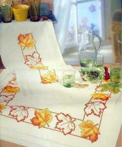 Yaprak baskılı goblen işi masa örtüsü ve mutfak takımı modelleri