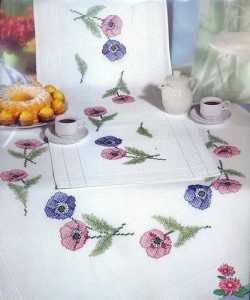 Çiçek baskılı goblen işi masa örtüsü ve salon takımı modelleri