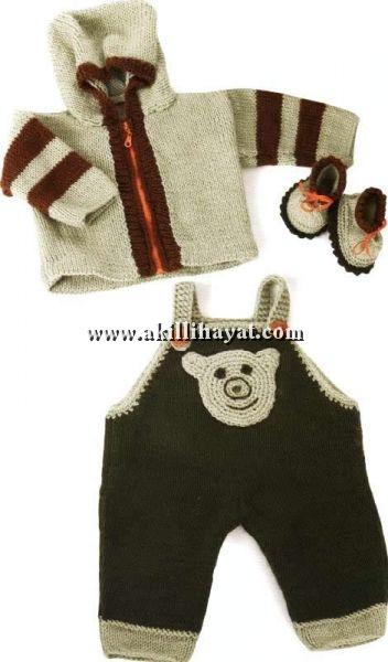 örgü erkek bebek mont ,bebek tulum ve bebek patik takımı yapılışı (anlatımlı)