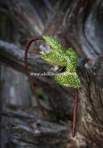 yeşil yapraklı örgü taç modeli