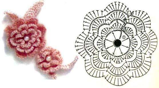 Вязание объемного цветка крючок схема 855
