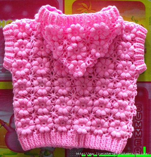 Tığ işi çiçek motifli bebek yeleği modeli ve yapılışı