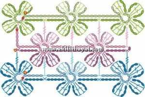 Çiçekli kafesli şal modeli ve şeması