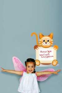 Bebek ve çocuk odası için kedili yazı tablosu