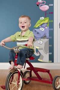 Bebek ve çocuk odaları için hayvan figürlü boy ölçme tabloları