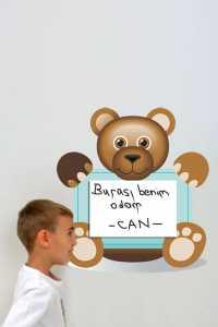Bebek ve çocuk odaları için ayıcıklı yazı yazma sticker modelleri